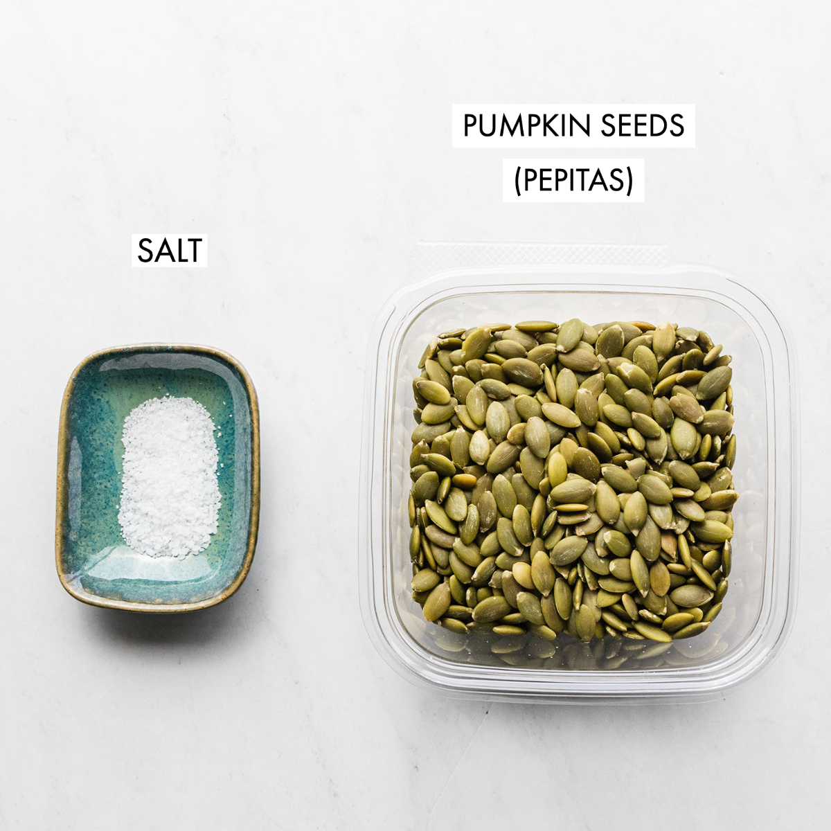ingredients for pumpkin seed butter including pepitas and sald