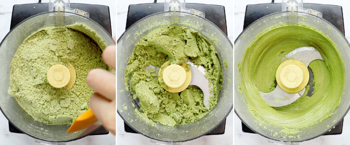 three process shots of pumpkin seeds being blended in a food processor until smooth