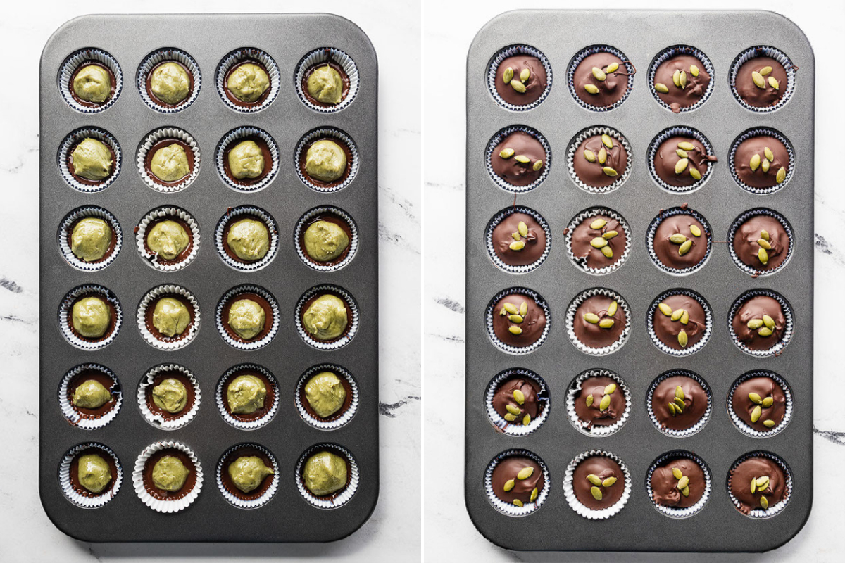 two mini cupcake trays showing pumpkin seed butter cups ready to set