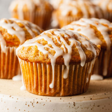 carrot muffins drizzled with white icing